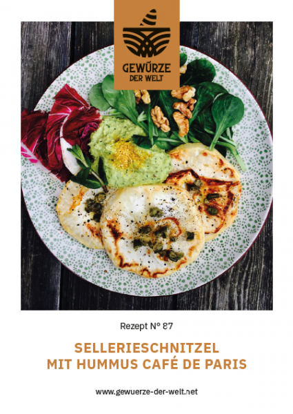 Rezeptkarte N°87 Sellerieschnitzel Humus Cafe de Paris