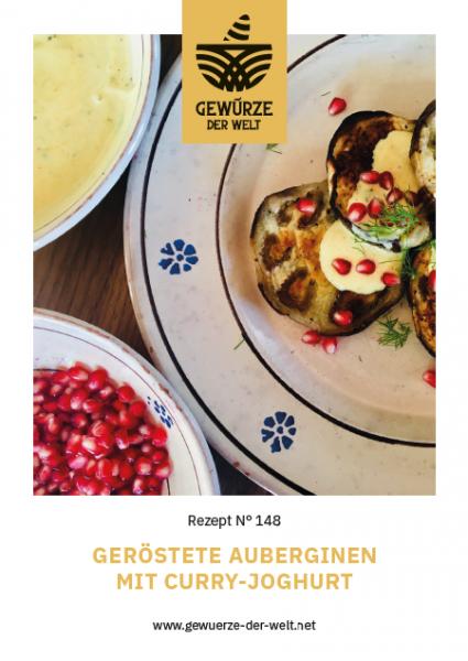 Rezeptkarte N°148 Geröstete Auberginen mit Curry-Joghurt