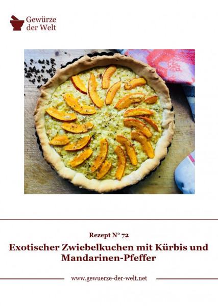 Rezeptkarte N°72 Exotischer Zwiebelkuchen mit Kürbis und Mandarinen-Pfeffer