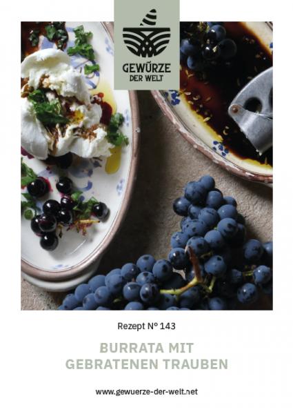 Rezeptkarte N°143 Burrata mit gebratenen Trauben