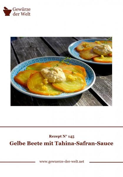 Rezeptkarte N°145 Gelbe Beete mit Tahina-Safran-Sauce