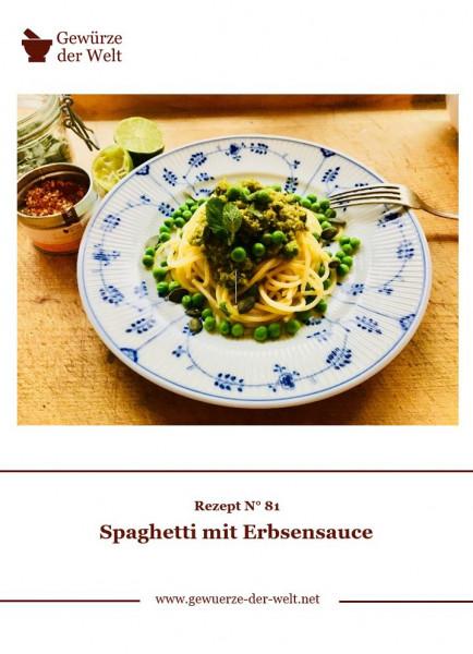 Rezeptkarte N°81 Spaghetti mit Erbsensauce