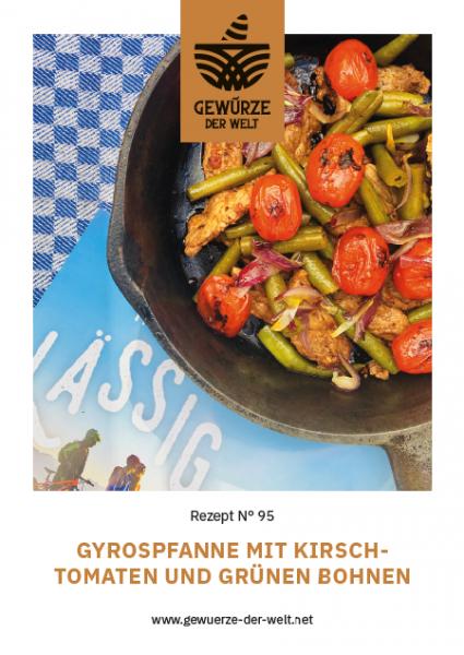 Rezeptkarte N°95 Gyrospfanne mit Kirschtomaten und grünen Bohnen