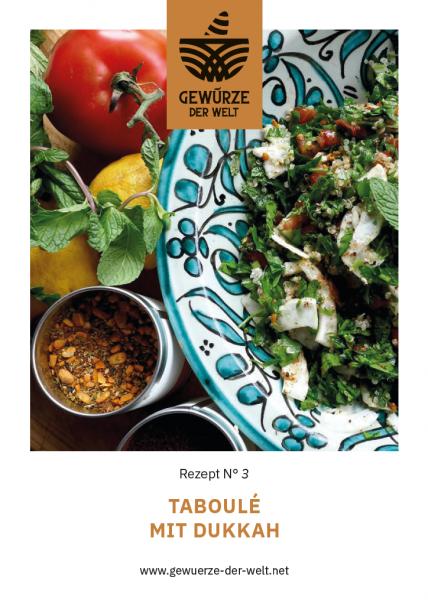 Rezeptkarte N°3 Taboulé mit Dukkah