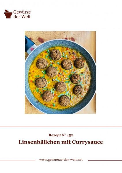Rezeptkarte N°152 Linsenbällchen mit Currysauce