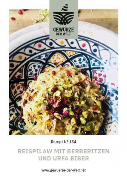 Rezeptkarte N°154 Reilpilaw mit Berberitzen, Urfa Biber und Pistazien