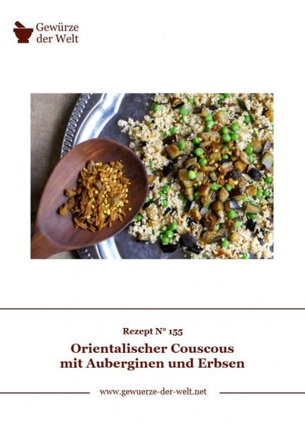 Rezeptkarte N°155 Orientalischer Couscous mit Auberginen und Erbsen