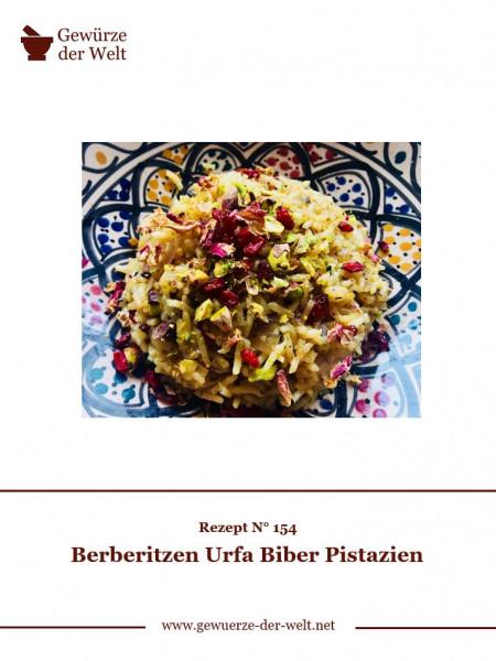 Rezeptkarte N°154 Berberitzen Urfa Biber Pistazien