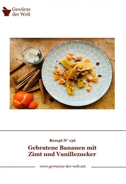Rezeptkarte N°136 Gebratene Bananen mit Zimt und Vanillezucker
