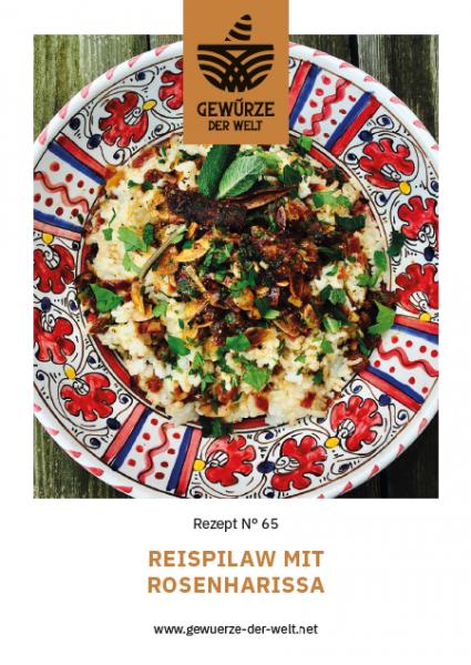 Rezeptkarte N°65 Reispilaw mit Bio Rosengewürz