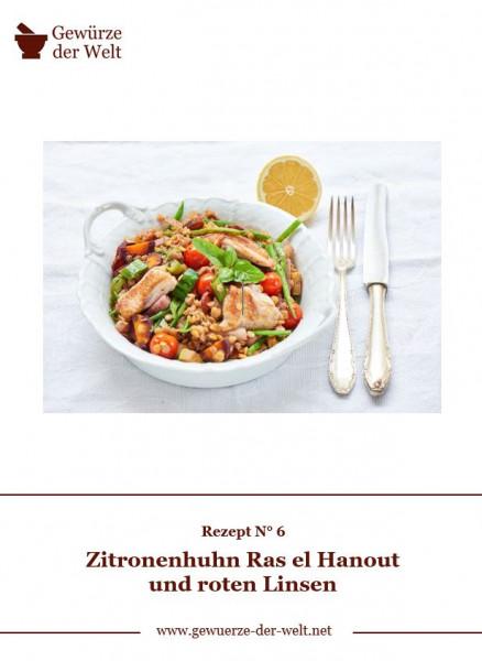 Rezeptkarte N°6 Zitronenhuhn Ras el Hanout