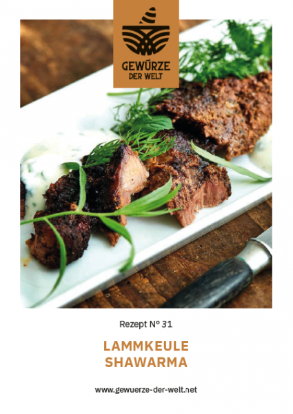 Rezeptkarte N°31 Lammkeule Shawarma