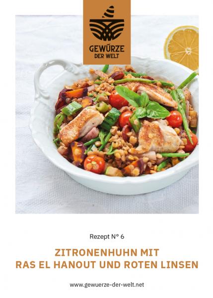 Rezeptkarte N°6 Zitronenhuhn mit Ras el Hanout und roten Linsen
