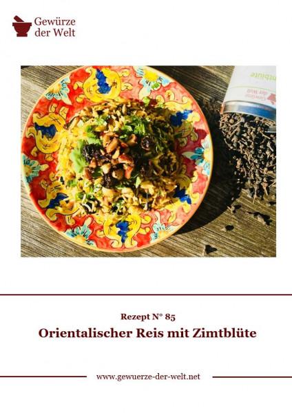 Rezeptkarte N°85 Orientalischer Reis Zimtblüte