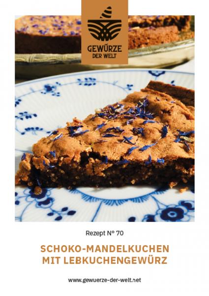Rezeptkarte N°70 Schoko-Mandelkuchen mit Spekulatiusgewürz und Kornblumen