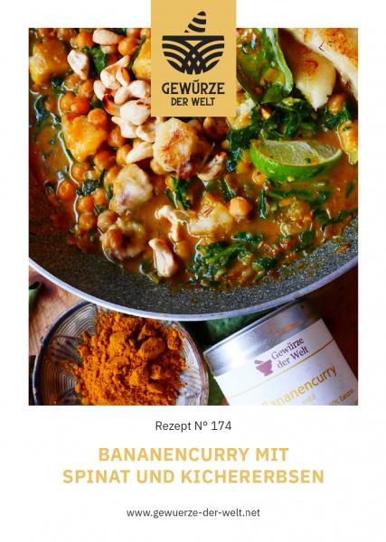 Rezeptkarte N°174 Bananencurry mit Spinat und Kichererbsen
