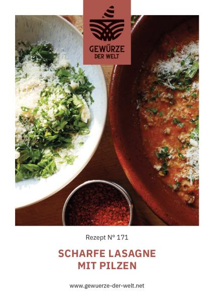 Rezeptkarte N°171 Scharfe Lasagne mit Pilzen