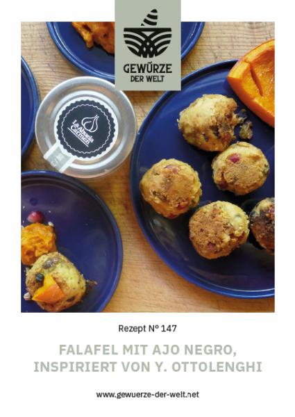 Rezeptkarte N°147 Kichererbsenbällchen mit Ajo Negro und Granatapfel