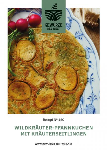 Rezeptkarte N°160 Wildkräuter-Pfannkuchen mit Kräuterseitlingen