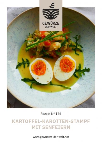 Rezeptkarte N°176 Kartoffel-Karotten-Stampf mit Senfeiern