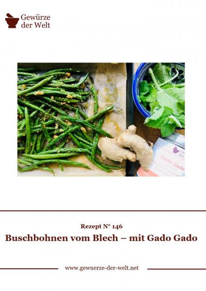 Rezeptkarte N°146 Buschbohnen vom Blech – mit Gado Gado