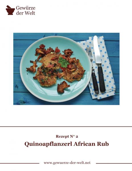 Rezeptkarte N°2 Quinoapflanzerl African Rub