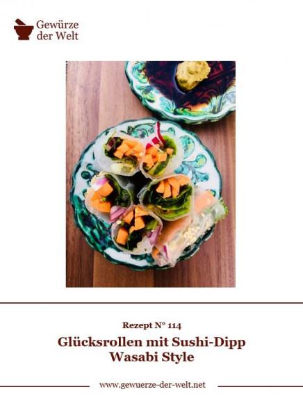 Rezeptkarte N°114 Glücksrollen mit Sushi-Dipp