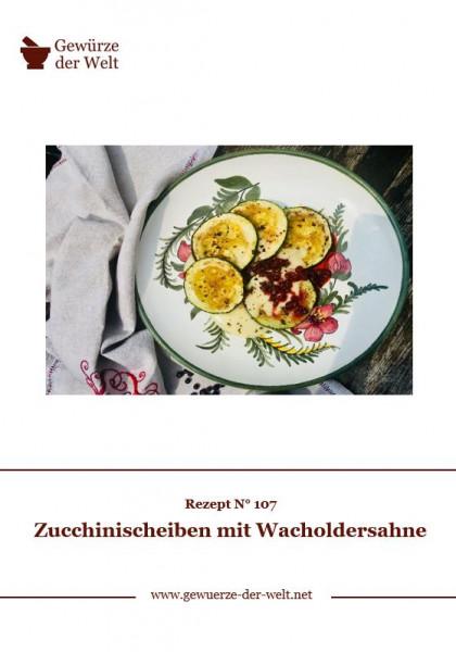 Rezeptkarte N°107 Zucchinischeiben mit Wacholdersahne