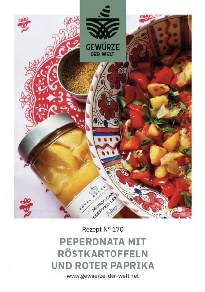 Rezeptkarte N°170 Peperonata mit Röstkartoffeln und roter Paprika