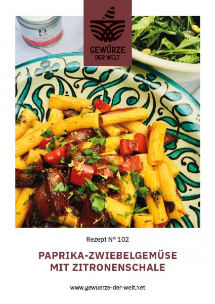 Rezeptkarte N°102 Paprika-Zwiebelgemüse mit Zitronenschale