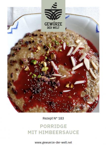 Rezeptkarte N°183 Porridge mit Himbeersauce