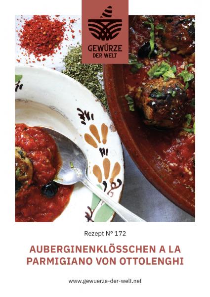 Rezeptkarte N°172 Auberginenklößchen a la Parmigiano von Ottolenghi