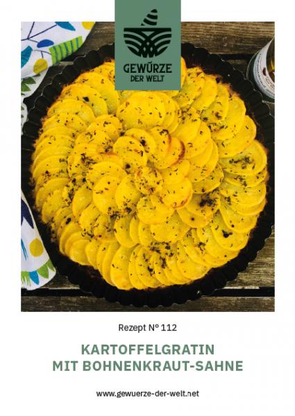 Rezeptkarte N°112 Kartoffelgratin mit Bohnenkraut-Sahne