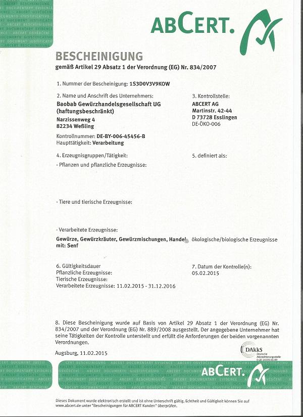 Bio Zertifikat BAOBAB
